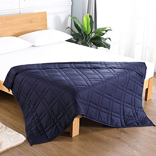 Cheap VODOF Navy Weighted Blanket (60 x 80 20 lbs for Adults Women Men Children Between 120-180 lbs) 100% Breathable Long Stapled Cotton Cover Black Friday & Cyber Monday 2019