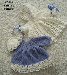 Crochet Pattern - CP100 - Baby Dress and hat - preemie, 0-3, 3-6, 6-9, 9-12mths - USA Terminology