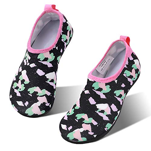 - hiitave Toddler Water Shoes Non-Slip Quick Dry Swim Barefoot Beach Aqua Pool Socks for Boys & Girls Kids Black/Camo 9-10 M US Toddler