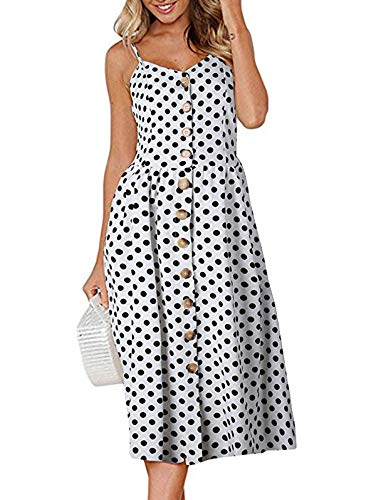 SWQZVT Women's Dress Summer Spaghetti Strap Sundress Casual Floral Midi Backless Button Up Swing Dresses White Polka Dot 2XL