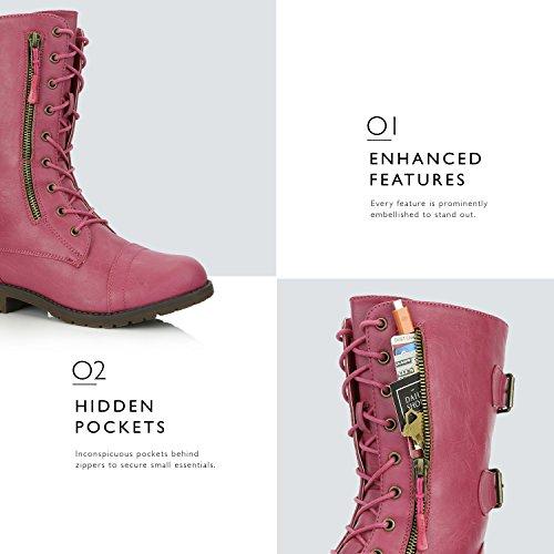 DailyZapatos Mujeres Military Tobillo Lace Up Buckle Botas De Combate Mid Knee High Exclusivo Tarjeta De Crédito Botines De Bolsillo Corazones Rosados