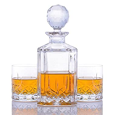 Crystalize Cut Crystal Whiskey Decanter and Glasses - 3 Piece Set