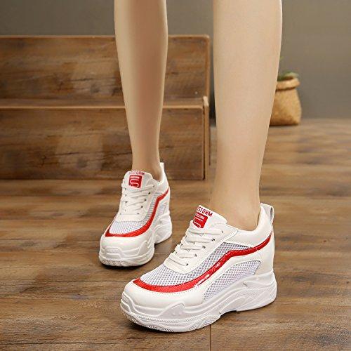 Hauteur augmenter de Chaussures 9 sport Plateforme respirante Chaussures talon Net nbsp;cm maille été décontracté haut GTVERNH de Silver Chaussures de Chaussures femmes voyage YvxqgnAz