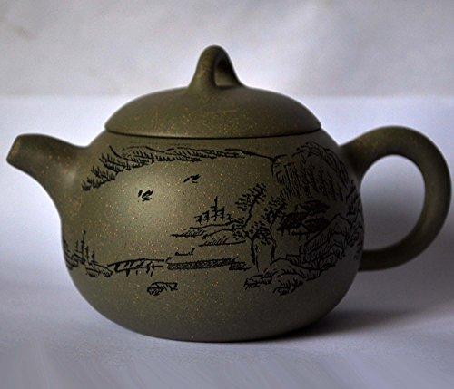 Teapot 5.4oz/160ml Yixing green Zisha tea pots xishi mud landscapes style