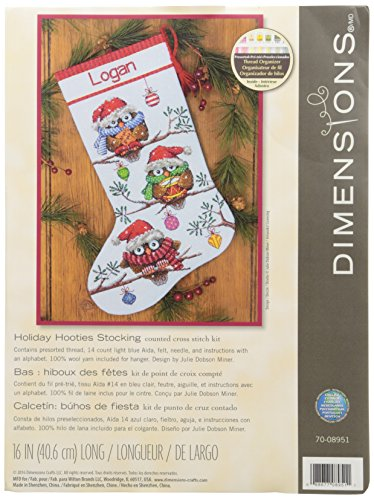 Dimensions Needlecrafts 70-08951 Holiday Hooties Stocking Counted Cross Stitch Kit (Dimensions Stocking Christmas)