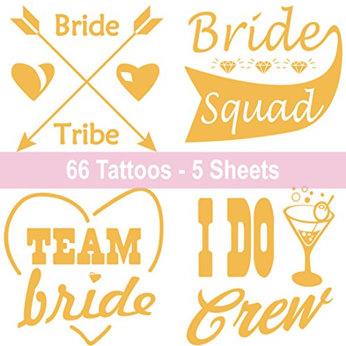 (66 Bride & Bachelorette Party Tattoos - Team Bride Tribe Bridal Party Flash Tattoo Stickers - Metallic Temporary Tattoos for Bridesmaids Wedding Hen & Bachelorette Party - 5 Large Sheets Gold Tattoo)