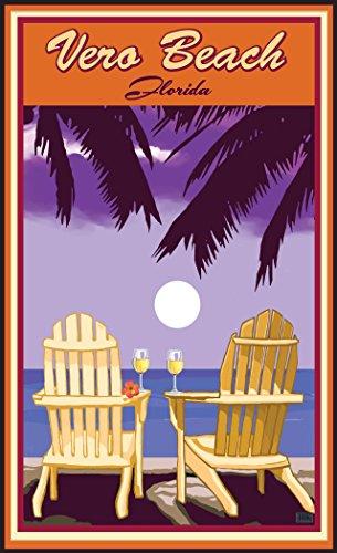 Northwest Art Mall JK-5695 ACPW Vero Beach Florida Adirondack Chairs Palms White Wine Print by Artist Joanne Kollman, 11