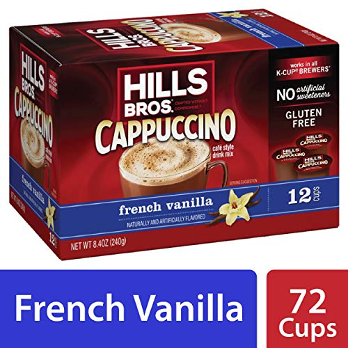 Hills Bros Instant Cappuccino Single-Serve Coffee Pods, French Vanilla, Compatible with Keurig K-Cup Brewers (72 Count) (Hills Brothers Coffee K Cups)
