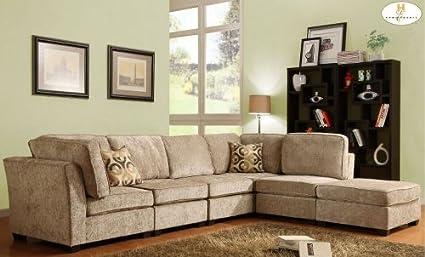 Homelegance U9709CN SECT B Burke Sectional Sofa Set B   Brown Beige Chenille