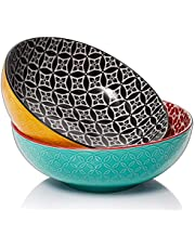 DOWAN Large Serving Bowls, 9.6 Inch 70 Oz Salad Serving Bowl Set, Serving Dishes for Entertaining, Large Pasta Serving Bowl Set of 2, Vibrant Colorful Bowls
