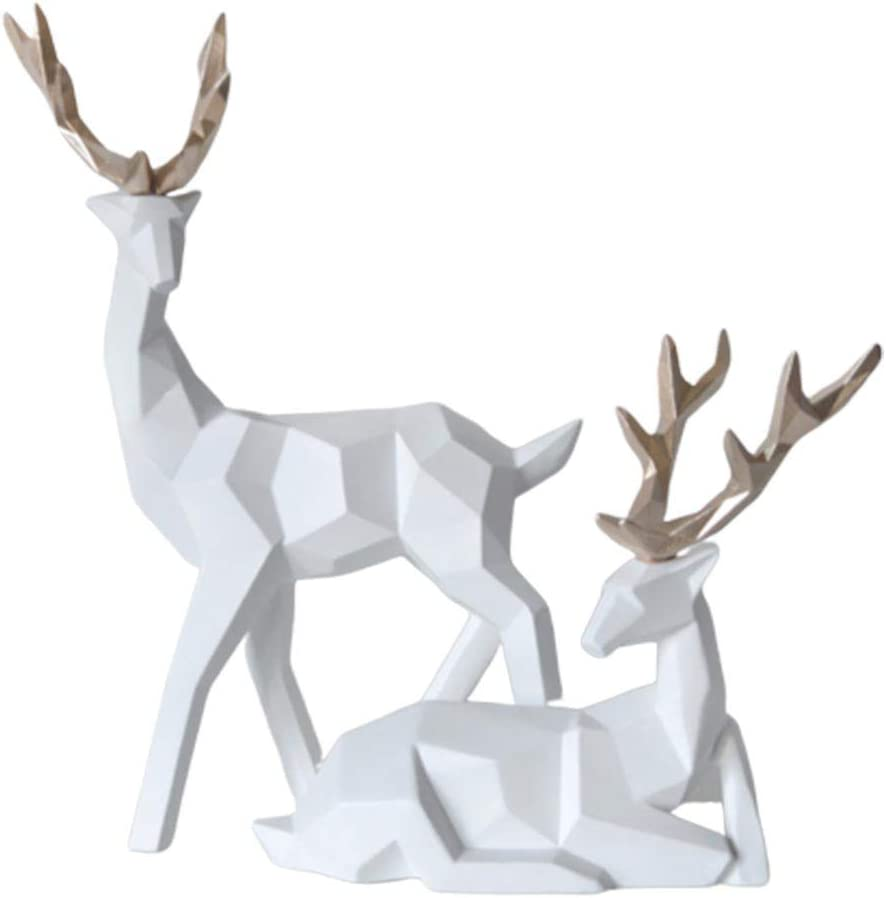 Geometric Couple Deer Statue Elk Sculpture Figurine Home Living Room Valentine Decor Black farawamu 2Pcs Elk Statue Desktop Decor
