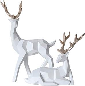 oAtm0eBcl Decoration 2Pcs Geometric Couple Deer Statue Elk Sculpture Figurine Home Living Room Decor - White Home Decorations for Living Room Home Decoration