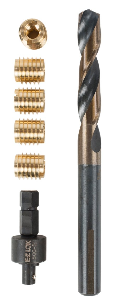 E-Z LOK 400-4 Threaded Inserts for Wood, Installation Kit, Brass, Includes 1/4-20 Knife Thread Inserts (5), Drill, Installation Tool