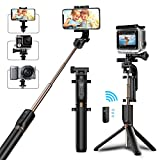 Selfie Stick Tripod, TEUMI Bluetooth Selfie Stick with Tripod Stand and Detachable Remote