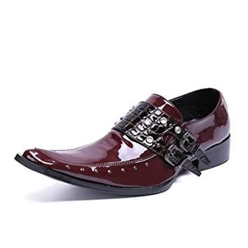 4fb623ef1003 Square Toe Belt Buckle Business Casual Leather Men Shoes Fashion Pump  Rhinestone Deco Winklepicker Wedding Dress
