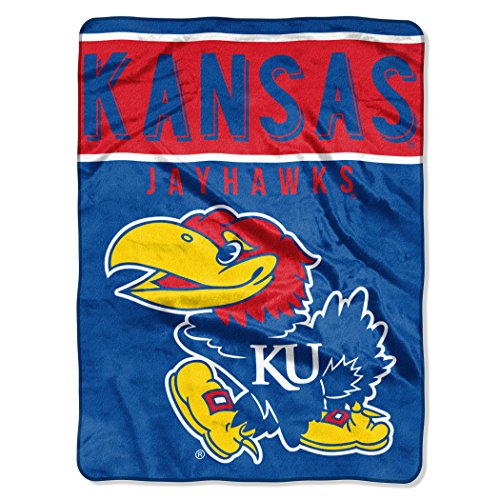 The Northwest Company Officially Licensed NCAA Kansas Jayhawks Basic Plush Raschel Throw Blanket, 60
