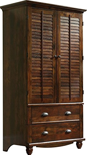 Entertainment Wardrobe - Antique Traditional Styled Entertainment Wardrobe Armoire 2 Interior Shelves 2 Exterior Drawers Curado Cherry Finish 1 Clothing Rod Paperboard Back Bedroom Living Room Furniture Décor