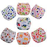7 Pcs Baby Infant Printed Cloth Diapers Reusable Nappy Covers Size Adjustable