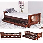 Woodlab Furniture Sheesham Wood Single Cum Double Bed for Living Room (Brown)