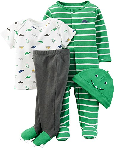 Carter's Baby Boys' 4 Piece Sets, Dinosaur, Newborn