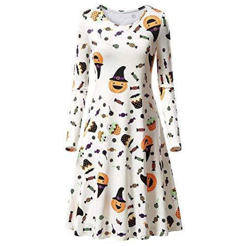 - ◕‿◕ Toponly Women Long Sleeve Pumpkins Halloween Evening Prom Costume Swing Dress