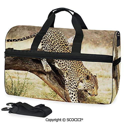 3D Printed Duffel Bag Leopard On Tree Trunk Desert Plants as a Crossbody bag