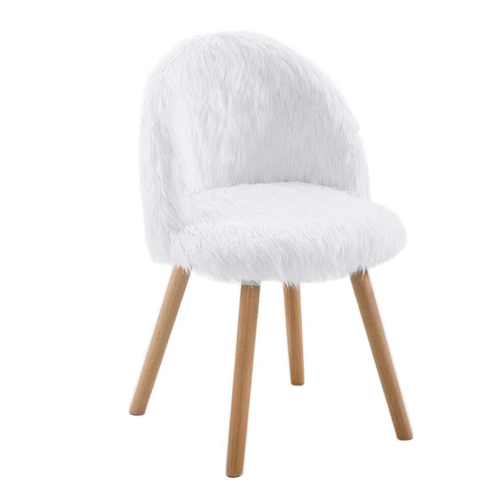 チェア スツール メイクアップチェア、背もたれ付きのふわふわマットのベッドルームのオフィスラウンジチェア、朝食椅子、女の子の新鮮な甘いスタイル ++ (色 : 白) B07K2897GV 白
