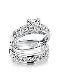 Bling Jewelry 925 Silver 2ct Princess Cut CZ Engagement Wedding Ring Set