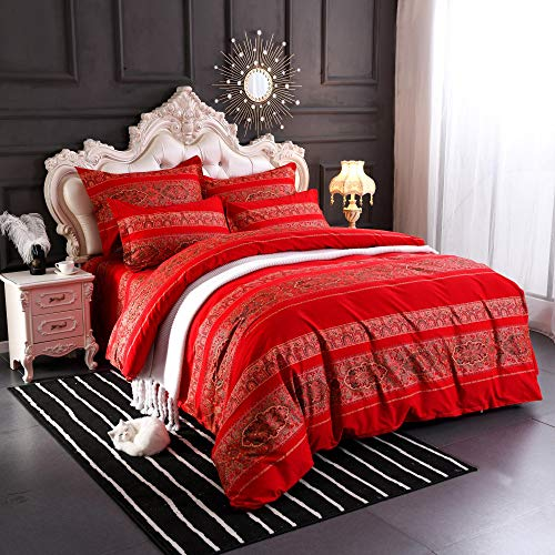 Softta Boho beddding Set Queen Size 3Pcs Bohemian Vintage FloralDuvet Cover Sets Colorful Stripe Damask Paisley Pattern 100% Brushed Cotton 1 Duvet Cover +2 Pillow Shams Red ()