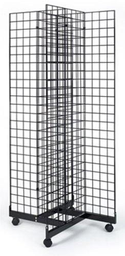 Metal Floor Grid (2' x 6' Grid Panel 4-Sided Floorstanding Display Fixture with Rolling Base. Matte Black)