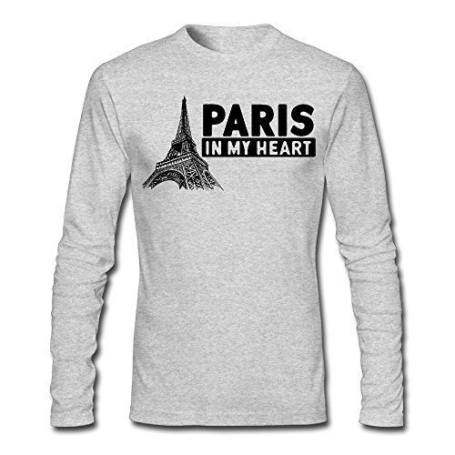 LSNQCPM Men's Paris In My Heart Eiffel Tower-1 Long-Sleeve Cotton T-Shirt (Best Restaurants In Paris With A View)