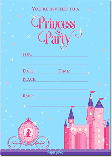 Princess Party Invitations with Envelopes (15 Count) - Kids Birthday Invitations for Girls (15 Invitations)