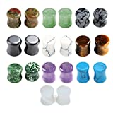zero ear plugs - JOVIVI 20pc Mixed Natural Semi Precious Stones Double Flared Saddle Plugs Ear Expander Stretcher Gauges 2g-5/8