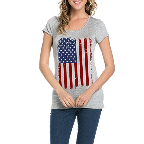 Light So Shine American Flag For Independence Day Women's Round Neck Short Sleeves T-Shirts(NT6114-211) (Large, - Independence Day Usa Offers