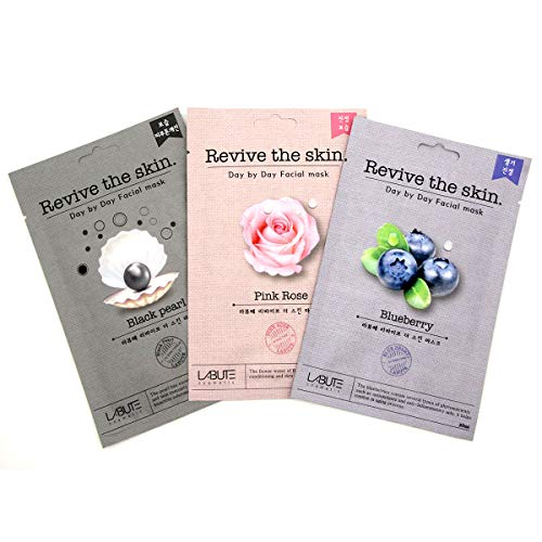 ECONBIO ROOTS Labute Pink Rose, Blueberry & Black Pearl Facial Mask (Pack of 3) | Rejuvenate Skin | Natural Skin Care