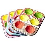 Forma Assadeira de Aço Carbono Antiaderente para Cupcakes com 6 Cavidades + 6 Formas de Silicone Colors