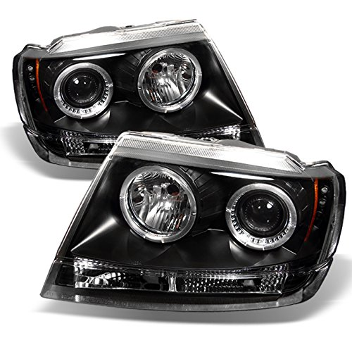 For Jeep Grand Cherokee Black Bezel CCFL Halo Ring Projector LED Replacement Headlights LH/RH Head Lamps