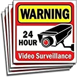 "Video Security Surveillance Sticker Decals Sign for Home/Business (4 Piece Set) Self Adhesive Vinyl Stickers for CCTV, DVR, Video Camera System-Outdoor/Indoor 6"" x 6"" for Window Door Wall …"