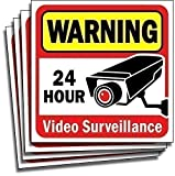 Video Security Surveillance Sticker Decals Sign for Home/Business (4 Piece Set) Self Adhesive Vinyl...