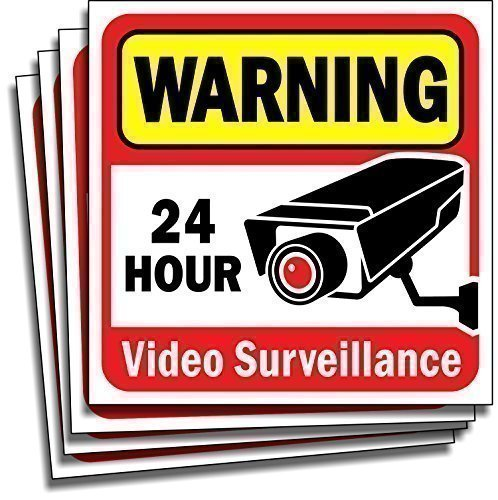 "Video Security Surveillance Sticker Decals Sign for Home/Business (4 Piece Set) Self Adhesive Vinyl Stickers for CCTV, DVR, Video Camera System-Outdoor/Indoor 6"" x 6"" for Window Door Wall ..."