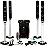 Acoustic Audio AAT1000 Tower 5.1 Speakers with USB Bluetooth Optical Input 2 Mics and 2 Extension Cables