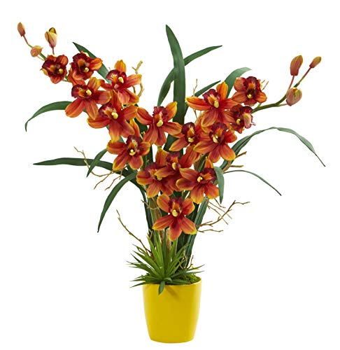 - Artificial Flowers -Cymbidium Orchid Burgundy Arrangement in Yellow Vase