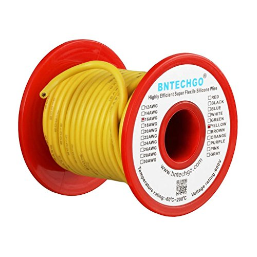 BNTECHGO 16 Gauge Silicone Wire Spool Yellow 25 feet Ultra Flexible High Temp 200 deg C 600V 16 AWG Silicone Rubber Wire 252 Strands of Tinned Copper Wire Stranded Wire for Model Battery Low Impedance