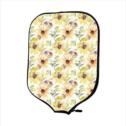 (iPrint Neoprene Pickleball Paddle Racket Cover Case,Watercolor Flower,Pastel Colored Summer Sunflowers with Pale Leaves Nature Style,Orange Cream Green,Fit for Most Rackets - Protect Your Paddle)