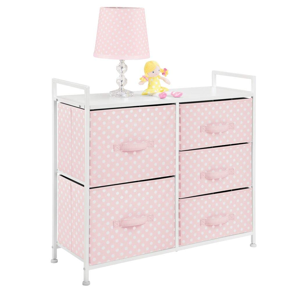 mDesign Wide Dresser 5 Drawers Storage Furniture - Wood Top, Easy Pull Fabric Bins - Organizer for Child/Kids Room or Nursery - Polka Dot Pattern, 32.6'' W - Pink with White Dots by mDesign