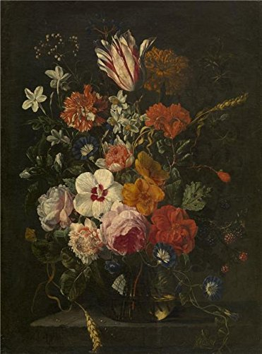 Oil Painting 'Flowers In A Vase, 1650 By Abraham Mignon' 24 x 32 inch / 61 x 82 cm , on High Definition HD canvas prints is for Gifts And Kids Room, Living Room And Powder Room Decoration