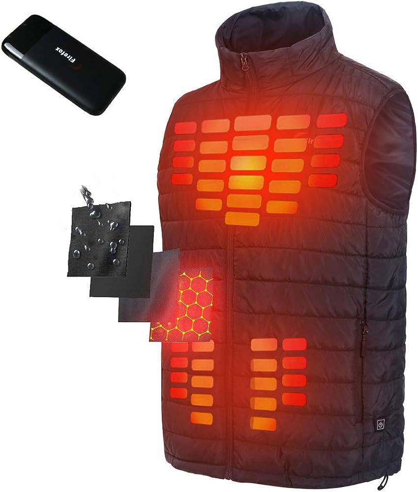 Firefox Heated Coats for Men, Waterproof Outdoor Winter Coat USB Heating Vest Warm Hunting Jacket with Battery