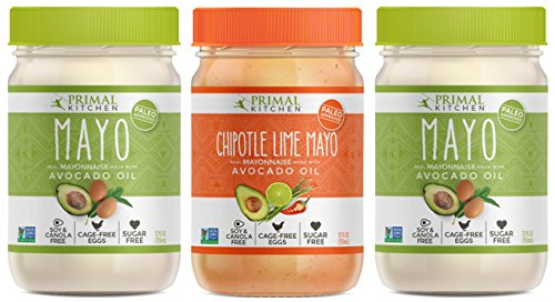 Primal Kitchen - Original and Chipotle Lime Mayo Combo Pack, First Ever Avocado Oil-Based Mayonnaise, Paleo Approved and Organic (12 fl.oz each, 3 Pack)