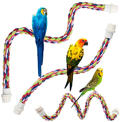 Petsvv 2 Pack Perch for Birds, Comfy Rope Bungee Bird Toy