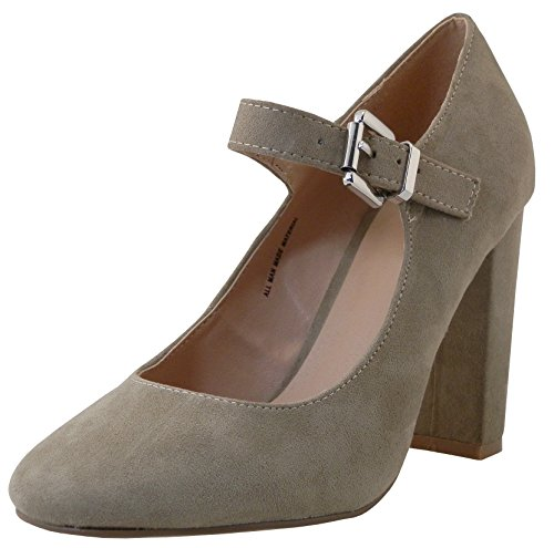 Cambridge Select Women's Closed Round Toe Mary Jane Buckled Strap Chunky Wrapped Block Heel Pump,9 B(M) US,Taupe IMSU